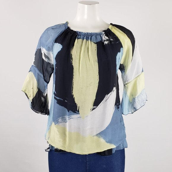 Charlie B. Blue & Yellow Silk Top Size S